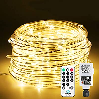 Rope Light Mains Powered, Infankey 66FT 200 LED Rope Lights 5mm, 8 Modes & Warm White, Remote Control & Timer, Waterproof Outdoor Christmas Lights for Garden, Patio, Tree, Room Decor