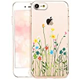 OOH!COLOR Bumper Compatible pour iPhone 7, iPhone 8 Coque Silicone Fleure Transparente Souple Etui...