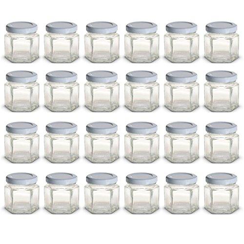Mini tarros de cristal hexagonales de 1.5 oz