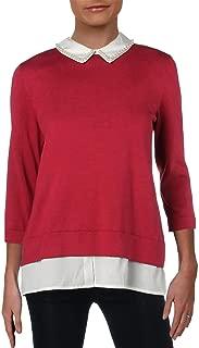 Karl Lagerfeld Womens Knit Collar Sweater