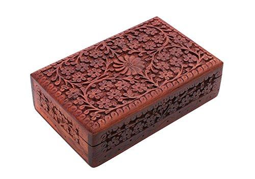 storeindya Wooden Jewelry Keepsake Trinket Storage Box Organizer Holder Handmade Box for Girl Women (Design1)