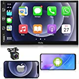 Car Stereo Double Din Car Multimedia Player-Apple Carplay and Android Auto, in-Dash Digital Media, 7 Inch Touchscreen, Voice Control, Bluetooth,AM/FM Car Radio, Backup Camera