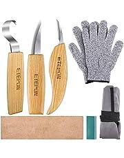 ETEPON ET014 Snijmes, houtsnijgereedschap, set messen voor lepelsnijwerk (meerkleurig)