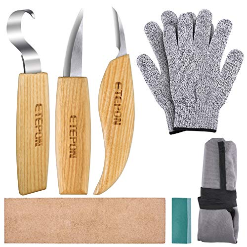 ETEPON Schnitzmesser, Wood Carving Tools Set Knifes for Spoon Carving ET014 (Mehrfarbig)