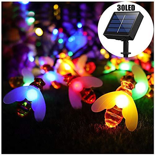 DHQSS Solar Fairy Lichtsnoer Honey Bee 8 Mode 30LED waterdichte tuinverlichting voor bloemhek, gazon, terras, slinger, Kerstmis, vakantie [energieklasse A ++]