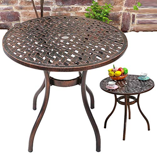 YSGLIFE 1pcs Seagrass Round Table Needs Assembly, Cast Aluminium Round Table and Chairs Outdoor Garden Patio Furniture Bistro Set(One Table,No Chairs)