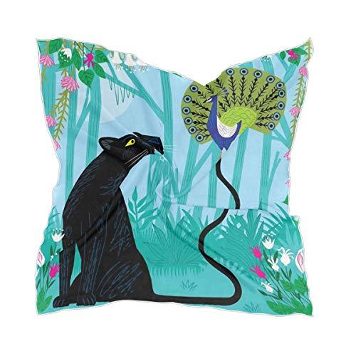 XiangHeFu Hoofdtooi zijden sjaal hoofddoek Transparant hoofddoek jungle-dier panter plezier met pauw vrouwen chiffon