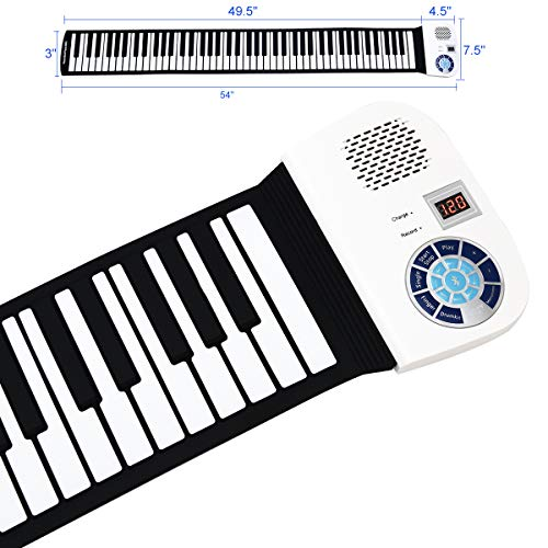 88 Keys Portable Keyboard Piano, Safeplus Electric Roll Up Flexible Silicone Piano Keyboard for Kids Beginners Adults Gift Support MP3 Player Bluetooth Function