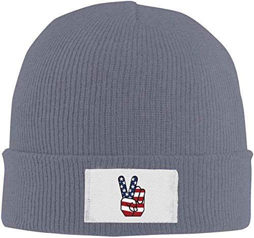 anemone store USA Peace Sign Handgeste Strickmütze, Unisex Cuffed Plain Skull Strickmütze Cap