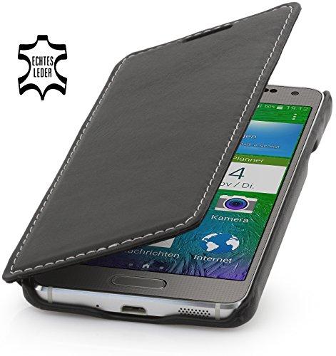 StilGut Book Type Hülle, Hülle aus Leder für Samsung Galaxy Alpha, Booklet case, schwarz Nappa
