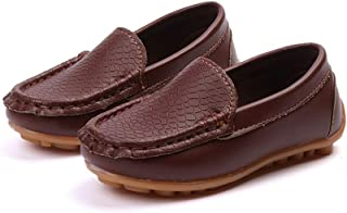 2018 New Boy's Penny Driving Loafer Girl's Bare Casual PU Leather Vamp Moccasins Kid's Boat Shoes (Color : Coffee, Size : 12 UK Child)