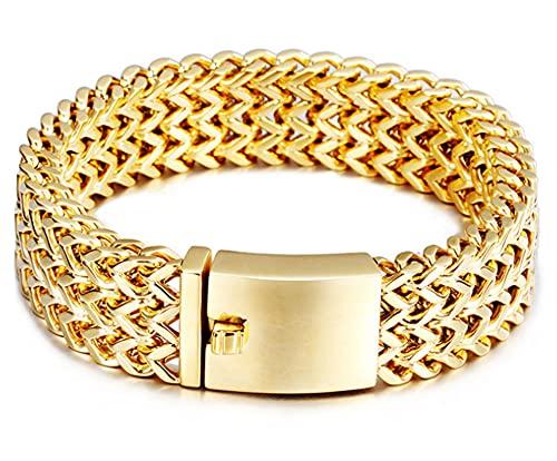 CHXISHOP Titan Stahlarmband Einfache Mode und großzügige Plattierung 18 Karat Gold Männer Edelstahl Armband Persönlichkeit Kiel Armband Dominierend Dammarmband gold-19cm