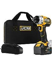 JCB Tools - JCB 20V أداة طاقة للسائق تأثير بدون فرشاة لاسلكي - بطارية 5.0 أمبير/ ساعة، شاحن، حافظة بسحاب - مفك مضغوط لتحسين المنزل والمهنيين ، مسامير تحديد ، براغي طويلة