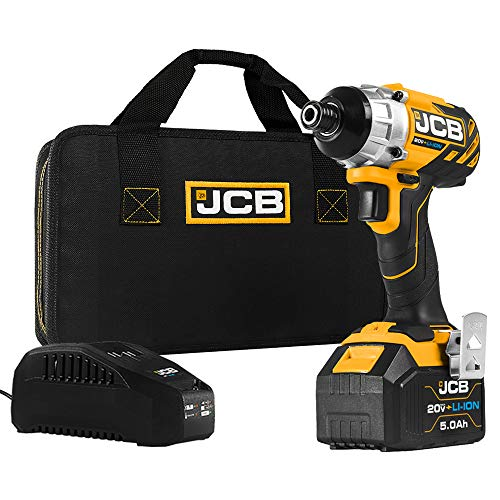 JCB Tools - JCB 20V Cordless Brushless Impact Driver Power Tool - 5.0Ah Battery, Charger, Zip Case - Compact Screwdriver For Home Improvements And Professionals, Decking, Removing Bolts, Long Screws
