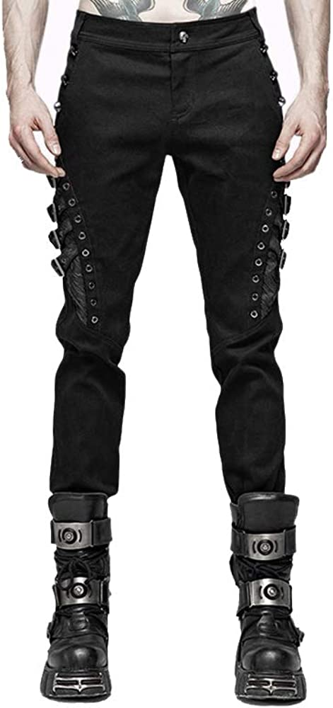 Punk Rave Men Punk Rock Personality Long Pants Fashion Casual Mens Rivet Pants Streetwear Hip Hop Cotton Pencil Pants