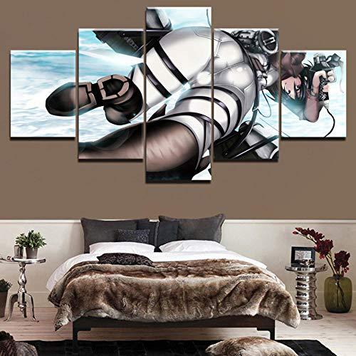 ALLHZ Muurkunstwerk Hd Prints Canvasafbeeldingen Modulaire Posters 5 stuks Schilderij Anime Decoratie Woonkamer Inlijst-(8X14X2;8X18Inx2;8X22Inx1) (Frame) (8 x 14 x 2, 8 x 18 inch x 2, 8 x 22 inch x 1).