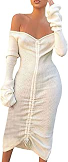 LENXH Ladies Dress Long Sleeve Mini Skirt One-Neck Dress Pure Color Skirt Lace Beach Dress Fashion Dress