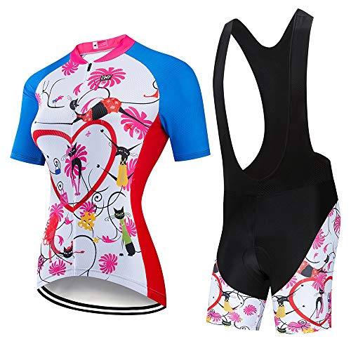 JTRHD Atmungsaktives Fahrradtrikot Sommer Fahrradbekleidung Damen Fahrradbekleidung Fahrradbekleidung Anzüge schweißabsorbierend Bequeme Fitness Sommerkleidung (Farbe : A3, Size : M)