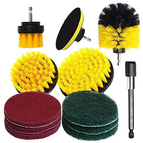 QiKun-Home 12 unids taladro eléctrico cepillo de plástico redondo cepillo de limpieza para la alfombra de vidrio neumáticos de coche Nylon Cepillos Power Scrubber taladro amarillo