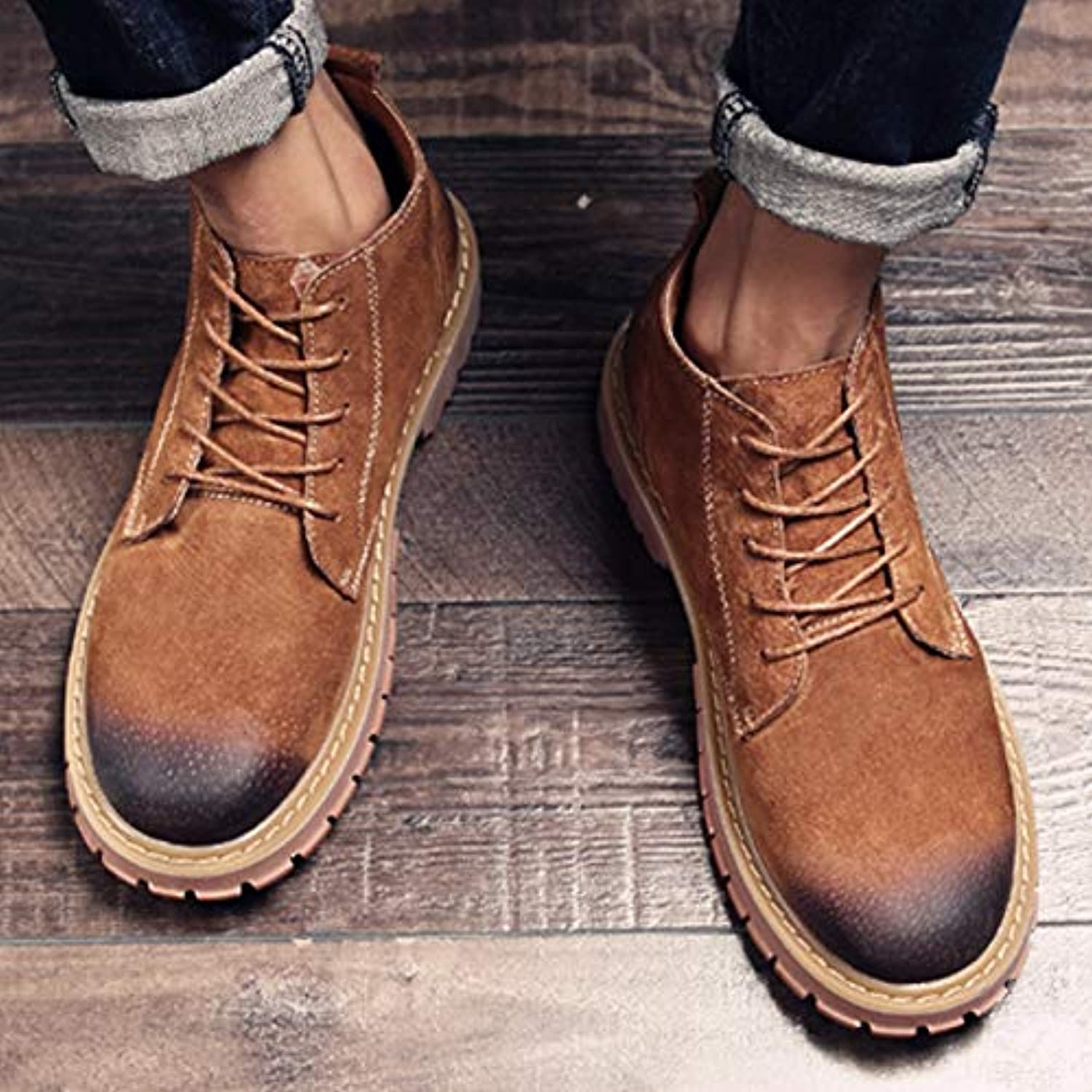 LOVDRAM Boots Men's Martin Boots Men'S Retro To Help Wild Short Boots Tooling Men'S shoes Men'S Boots High To Help Winter