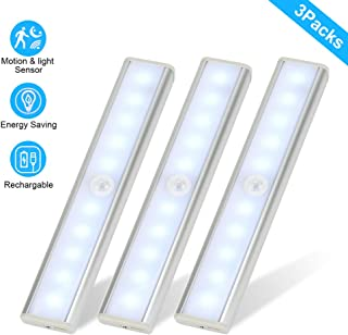 Under Cabinet Lighting, 3 Packs Motion Sensor Closet Lights, 10 LED Night Light USB Rechargeable, Wireless Under Counter Lighting, Safe Light LED Light Bar for Kitchen Stairs Wardrobe Cupboard