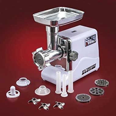 STX International STX-3000-TF Turboforce 3 Speed Electric Meat Grinder & Sausage Stuffer - Heavy Duty 1200 Watts - Size #12-4 Grinding Plates, 3 Stainless Blades, Sausage Stuffer & Kubbe Attachment