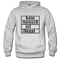 Shirtastic Hoody Hoodie Kapuzenpulli Kein Mensch ist illegal Refugees S-3XL NEU, Größe:XL, Hoodie:grau
