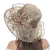 AMOYER Organza Vestido para Mujer Iglesia Kentucky Tea Party Cap Fascinator Derby Sun Boda Sombreros