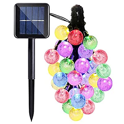 Qkfly Cherry Blossom Solar String Lights, 23ft 50 LED Waterproof Outdoor Decoration Lighting for Indoor/Outdoor, Patio, Lawn, Garden, Christmas, and Holiday Festivals (Blue) …