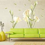 WandSticker4U - Adhesivo decorativo de flores para paredes, diseño floral para muros y paredes de salas de estar, dormitorios, armarios, cocinas y vestíbulos, de grandes dimensiones