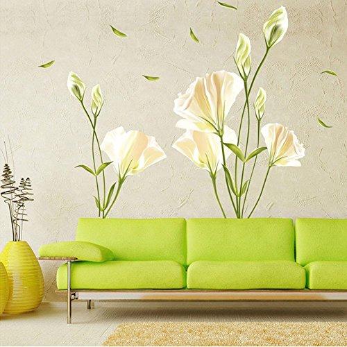 WandSticker4U®- Wandtattoo Blumen CALLA LILIE in Weiß/Gelb I Wandbilder: 135x97cm I Wandsticker Blüten Wand-Aufkleber Pflanze Blätter I Deko für Wohnzimmer Schlafzimmer Fenster Küche Flur GROSS