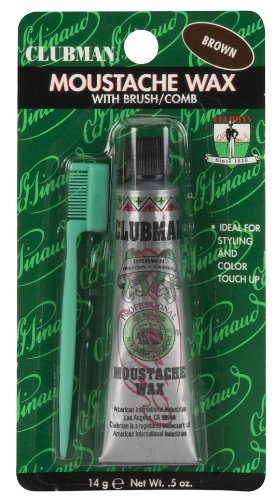 Clubman Pinaud Moustache Wax with Free Brush/Comb Applicator, Brown, 0.5-Ounce (Pack of 3) by Pinaud Clubman
