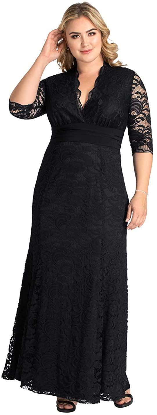 Kiyonna Women's Plus Size Screen Siren Lace Evening Gown