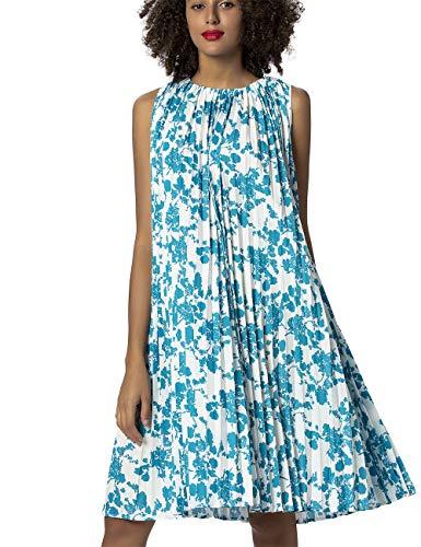 APART Damen Sommerkleid in weiter A-Linie, plissiert, türkis-Creme, 44