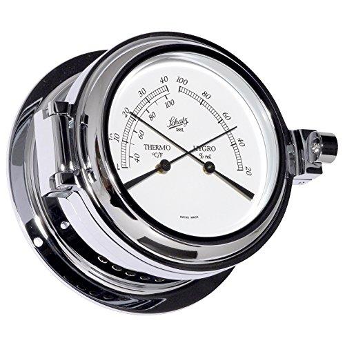 Unbekannt SCHATZ Thermometer-Hygrometer, Serie Success, geschmiedetes Messinggehäuse verchromt, weisses ZHifferblatt, schwarze Skala, Thermometer C° und F°