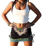 Womens African Totem Printed Ethnic Dashiki Skirt Boho Ethnic Short Summer Beach Skirt Pencil Skirt Black M