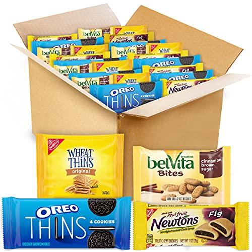 NABISCO Oreo Thins, belVita Bites Cinnamon Brown Sugar Breakfast Biscuits, Wheat & Fig Newtons Variety Pack, 53 Count