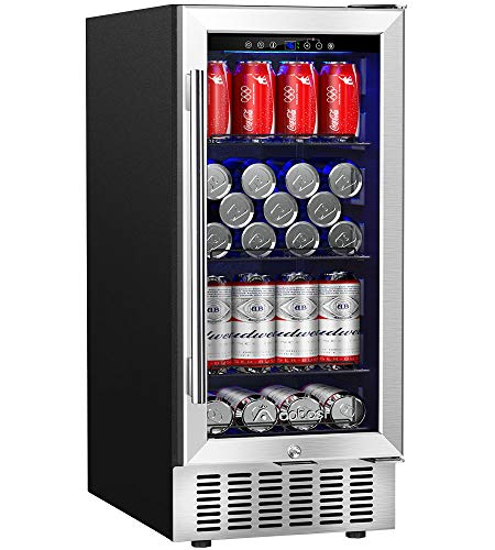 Beverage Refrigerator 15 Inch by Aobosi, 94 Cans Built-in Beverage Cooler with Quiet Operation, Compressor Cooling System, Energy Saving, Adjustable Shelves, Ideal for Beer, Soda, Water or Wine