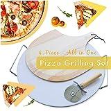 "homyhomi Ultimate Pizza Making Kits Set of 4,Classic 15"" Round Cordierite Ceramic Pizza"
