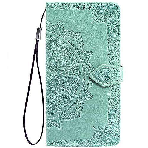 ALAMO Mandala Hülle für Xiaomi MI 11 Lite, Premium PU Leder Handyhülle mit Kartensteckplätze - Grün