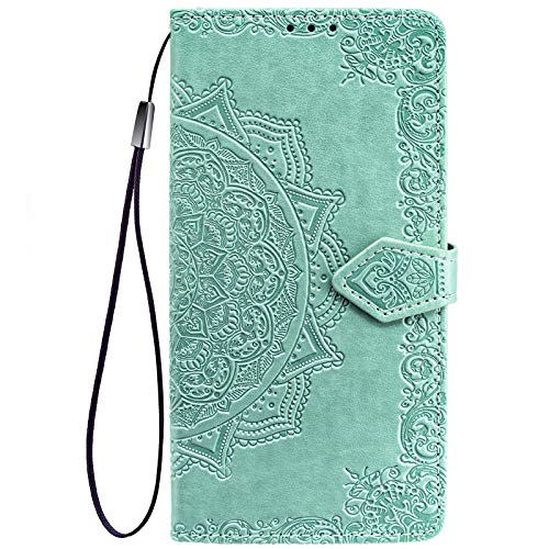 ALAMO Cover Mandala per Xiaomi Redmi Note 9T 5G, Premium Custodia in PU Pelle con Slot per Schede - Verde