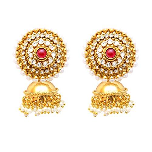 SANARA Bollywood Traditional Style Indian Pearl Jhumka Jhumki Earrings Set Wedding Bridal Jewelry