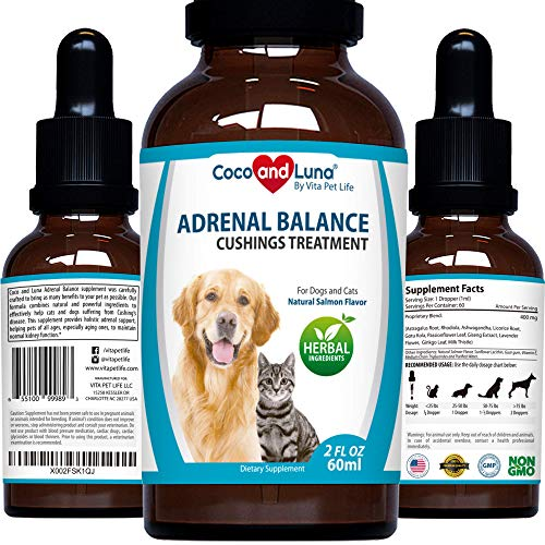 Adrenal Balance for Dogs and Cats - Cushings Treatment for Dogs, Adrenal Support for Dogs and Cats – with Ashwagandha, Astragalus Root and Milk Thistle – 2oz (60ml)