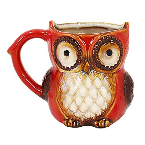 LeDiYouGou Taza Cerámica Animal - Animales 3D Búho Rojo Forma Café Leche Tazas Tazas Tazas De Té De Cerámica Tazas De Cepillo De Dientes Escritorio Pen Holder Vajilla De Cocina