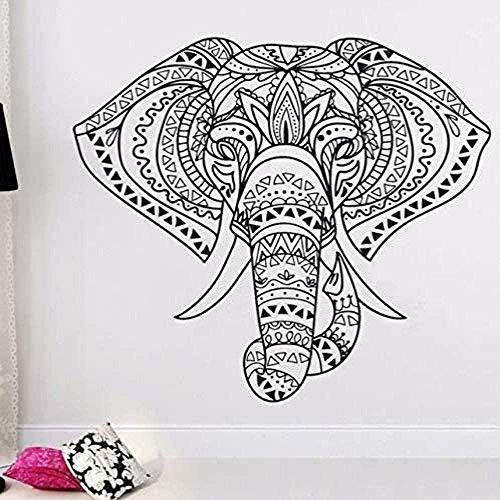 Vinilo decorativo extraíble elefante indio tótem dormitorio pegatina tallada 57X58Cm