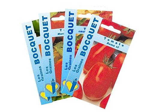 Lot de 4 sachets de Graines de Tomates Rouges - Graines Potagères à semer
