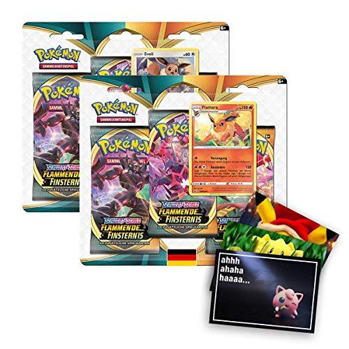 Lively Moments Pokemon Karten SWSH03 Flammende Finsternis 2 x 3er Pack Blister Evoli & Flamara DE + Exklusive GRATIS Grußkarte