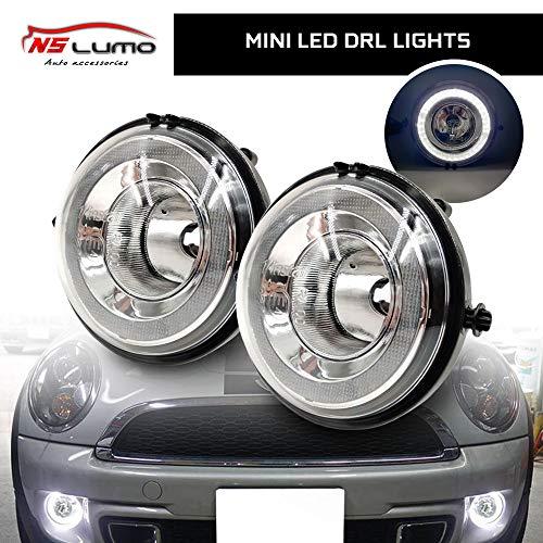 NSLUMO Exakte Passform Hochleistungs-Halo-Angel Eyes-LED-Tagfahrlichter Nebelscheinwerfer-Baugruppe für MINI Cooper R55 R56 R57 R58 R60 R61