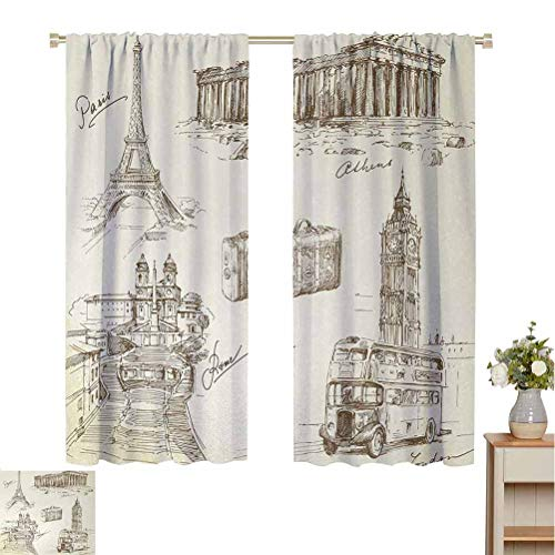 Travel Shading insulated curtain Sketch Art Collection of Travel Over European Landmarks and Vintage Style Suitcase For living room or bedroom W84 x L108 Inch Beige Black