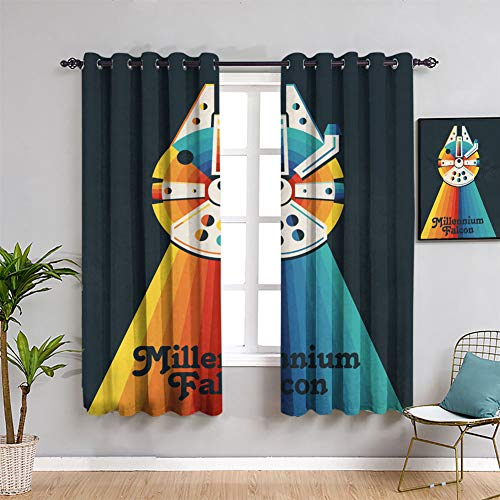 Rainbow Star Wars Millenium Falcon Rainbow - Cortina opaca aislante térmica con ojales para ventana de dormitorio (163 x 163 cm)